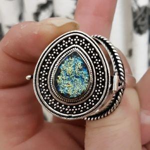 New Titanium Druzy 925 Silver Poison Ring. Size 9